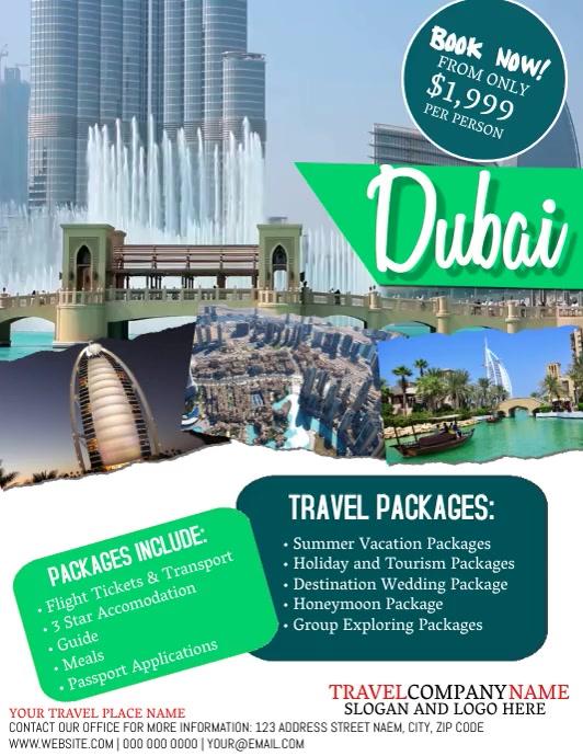 TRIP Dubai Travel Tour Flyer Template Pamflet (Letter AS)