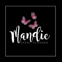 Triple Butterfly Square Classy Event Planner Logotipo template