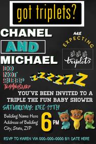 Triplets Baby Shower Party Invitation