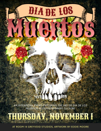 Trippy Day of the Dead Flyer Design Template