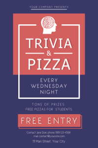 Trivia and Pizza Night Poster template