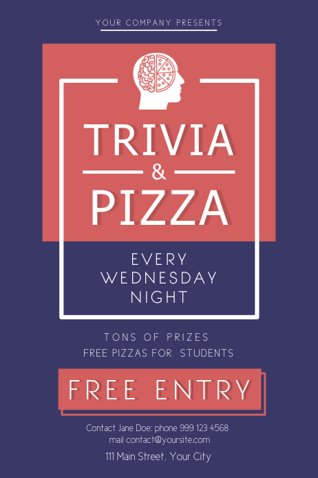 Trivia and Pizza Night Poster Plakat template