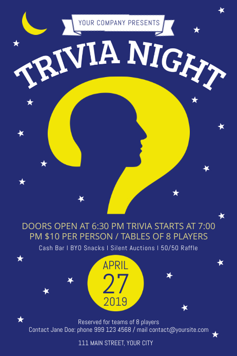 Trivia and Quiz Night Blue Poster template