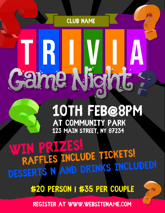 Trivia Game Night Flyer Iflaya (Incwadi ye-US) template