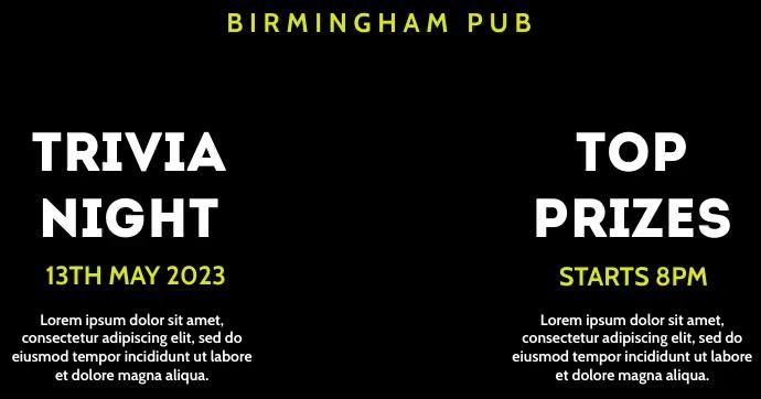 Trivia Night Bar Pub Event Video Ad Obraz udostępniany na Facebooku template