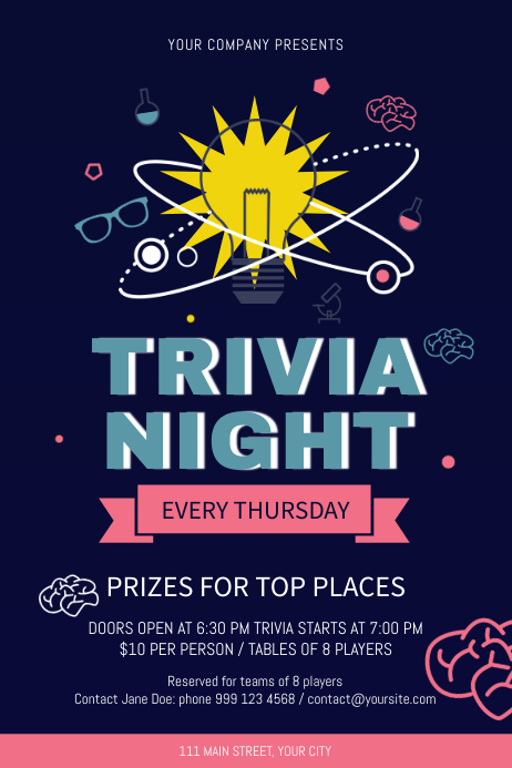 Trivia Night Blue Poster Plakat template