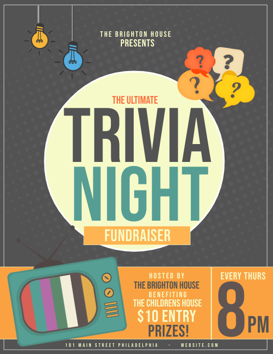 Trivia night Pamflet (Letter AS) template