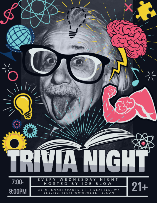 Trivia Night Einstein Flyer Folheto (US Letter) template