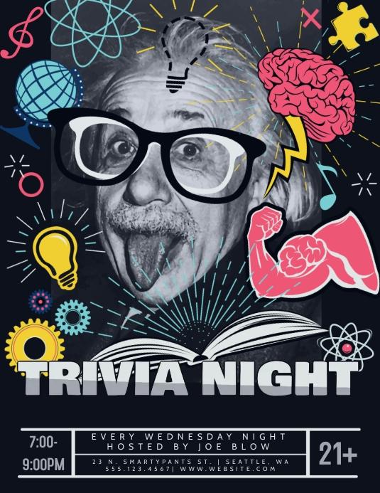 Trivia Night Einstein Flyer Ulotka (US Letter) template