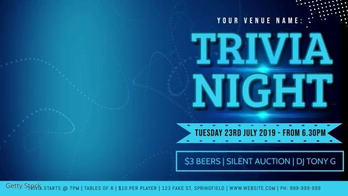 Trivia Night Facebook Video Event Cover Film w tle na Facebooka (16:9) template