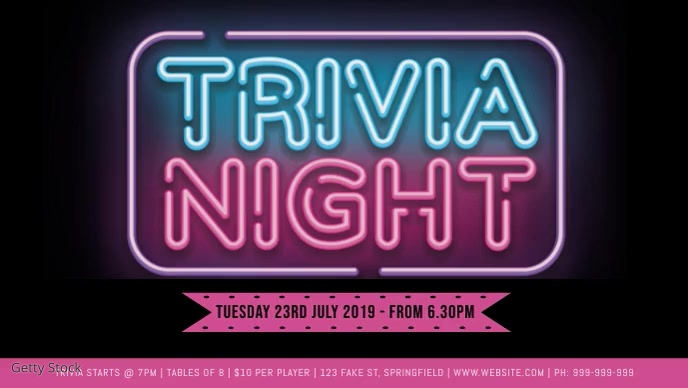 Trivia Night Facebook Video Event Cover template