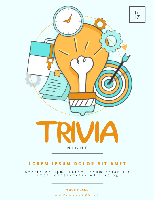 Trivia Night Flyer Template Løbeseddel (US Letter)