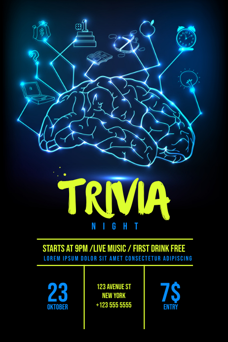 Trivia Night Flyer Template Cartaz