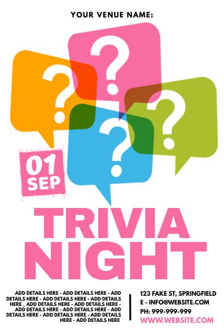 Trivia Night Poster Cartaz template