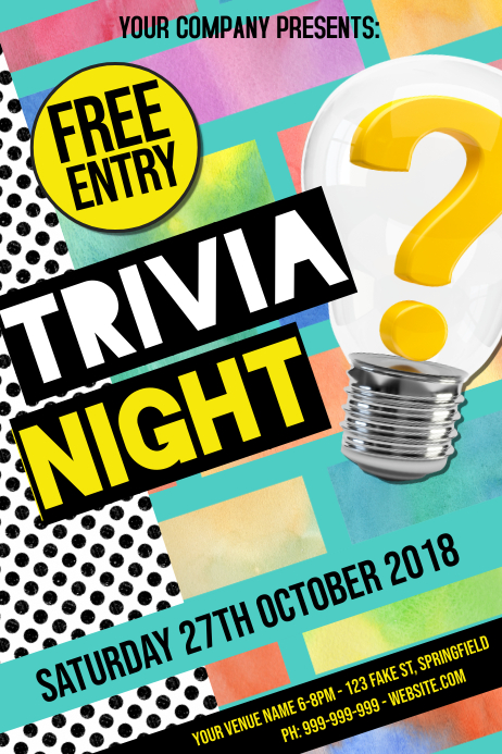 Trivia Night Poster Iphosta template