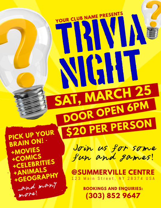 Trivia Night Flyer Folheto (US Letter) template