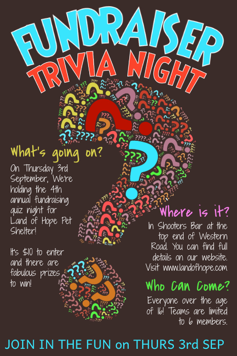 Trivia Quiz Night Poster Template 海报