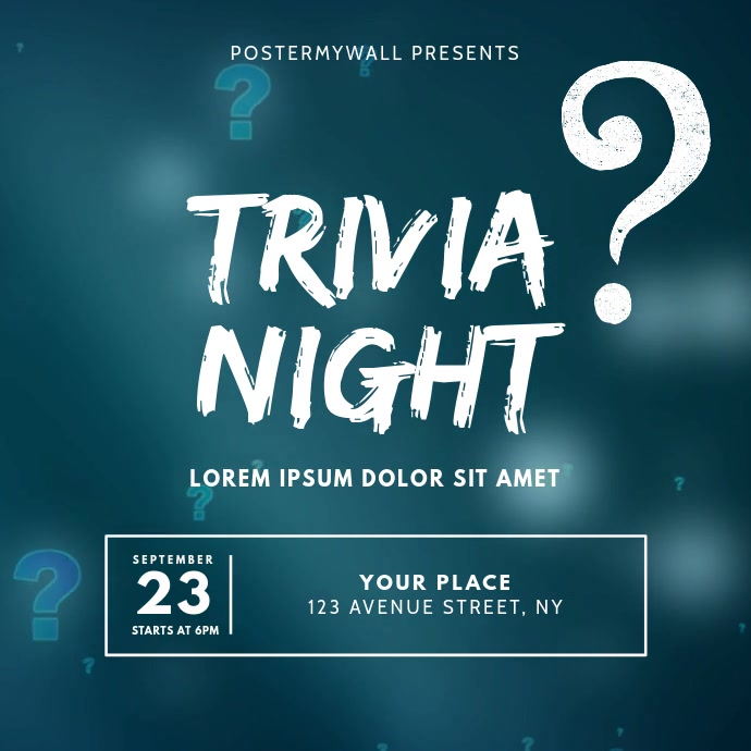 Trivia Quiz Night Video Ad Design Template