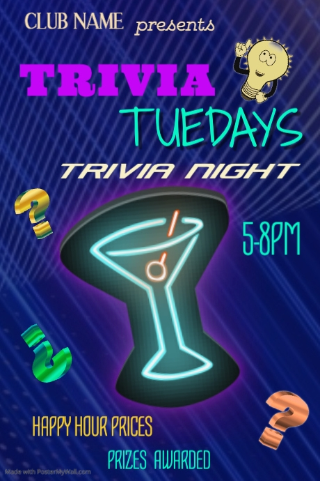 Trivia Tuesdays Poster Template