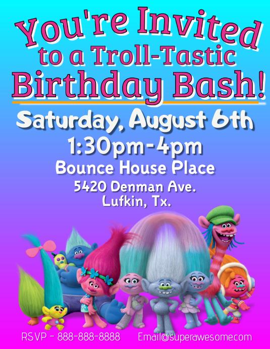 Troll Birthday Invitation Template