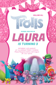 Trolls Birthday Party Invitation template