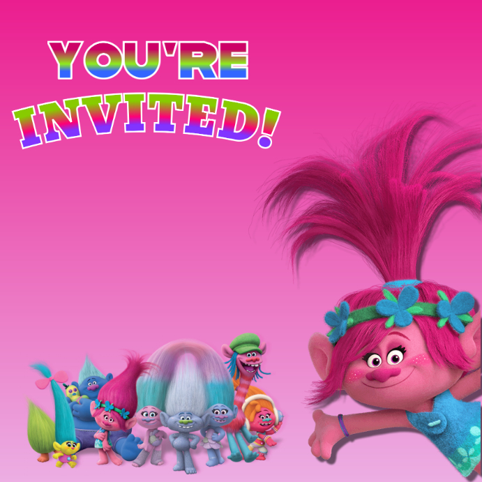 graphic about Trolls Birthday Invitations Printable named TROLLS INVITATION Template PosterMyWall