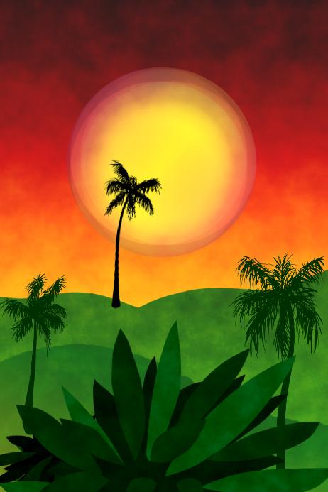 tropic landscape at sunrise, template