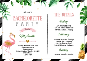 Tropical Bachelorette itinerary invitation A6 template