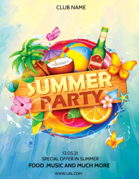 tropical background ,summer background Flyer (Letter pang-US) template