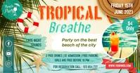 Tropical Beach Party Summer Facebook Post Tem template