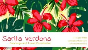 Tropical Flower Background Business Card Tarjeta de Presentación template