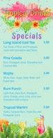 Tropical Juice Bar Half Page Digital Menu Media Página Carta template