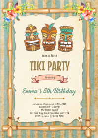 Tropical luau tiki birthday invitation