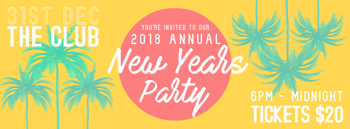 tropical new years party facebook banner