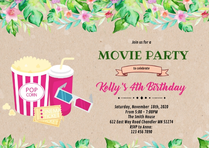 Tropical outdoor movie party A6 template