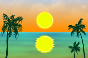 tropical paradise beach - utopia image with palm trees and sunset