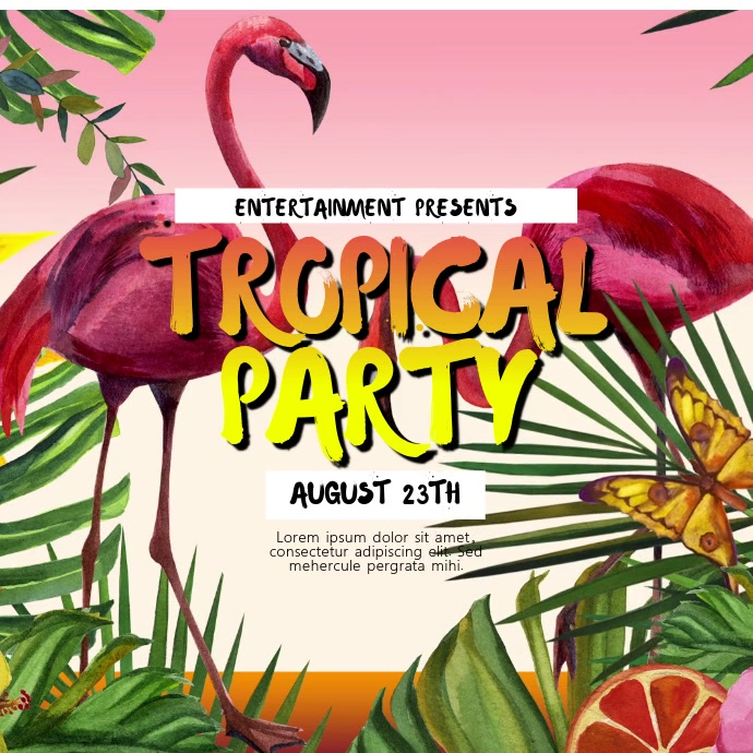 tropical party video ad template