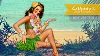 Tropical Pin Up Girl Business Card template