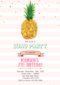 Tropical pineapple birthday party invitation