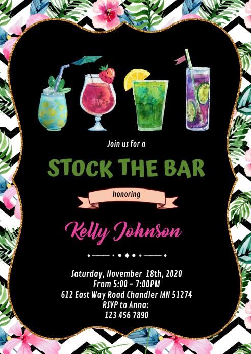 Tropical stock the bar invitation A6 template