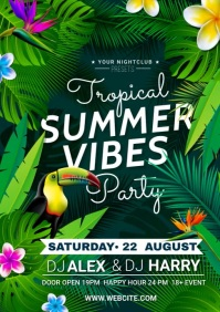 tropical summer party A4 template