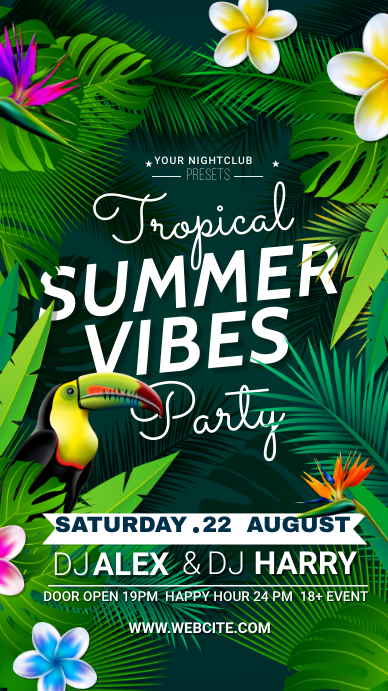 tropical summer party Instagram Story template