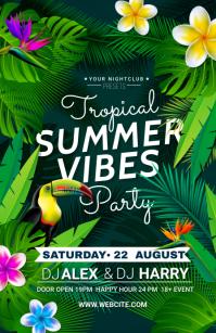 tropical summer party ความกว้างแบบครึ่งหน้า template