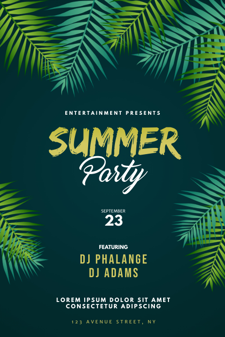 Tropical Summer Party Flyer Template Poster