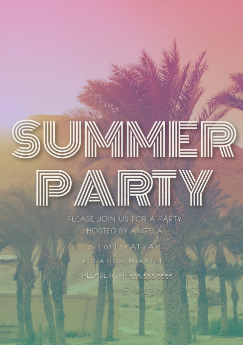 Tropical Summer Colorful Party Invitation A5 template