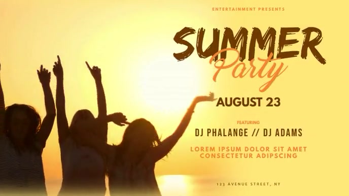 Tropical Summer Party video ad Template 数字显示屏 (16:9)