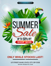 TROPICAL SUMMER SALE EVENT FLYER TEMPLATE Folheto (US Letter)