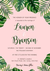 Tropical wedding theme invitation A6 template
