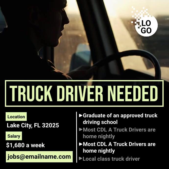 Truck Driver Needed Instagram-bericht template