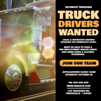 Truck Drivers Wanted Video Poster โพสต์บน Instagram template
